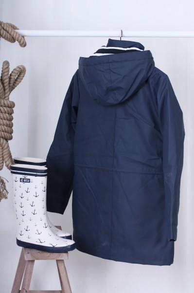 Mantel gefüttert blau mit gestreiften Innenfutter Gr. 36-50
