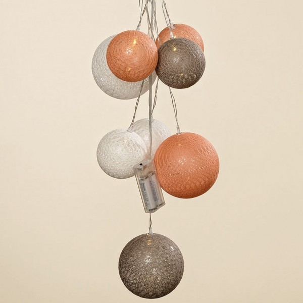 LED Lichterkette/Bündel Kugeln Farbmix apricot, taupe & weiß