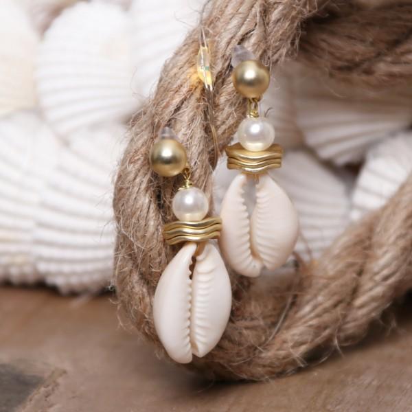 Ohrstecker / Stecker Muschel mit Perle
