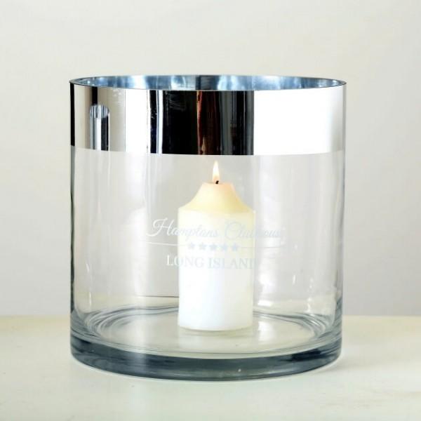Windlicht Hampton, H 20 cm, Glas, Transparent Glas lackiert klar