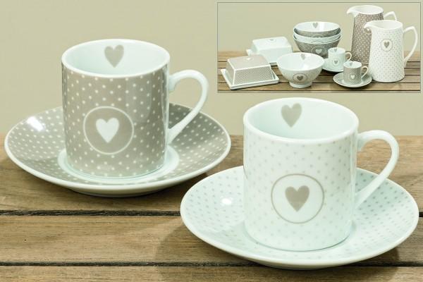 Espressotasse aus Porzellan in weiß/beige mit Pünktchen und Herz