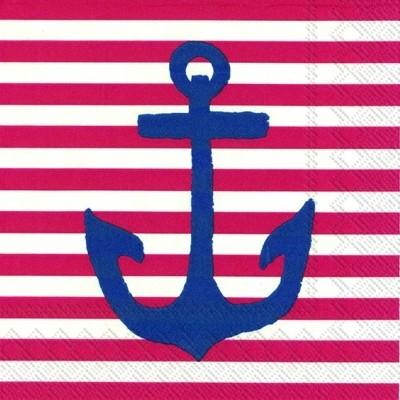 Cocktail Servietten Yacht Club rot weiß mit blauen Anker