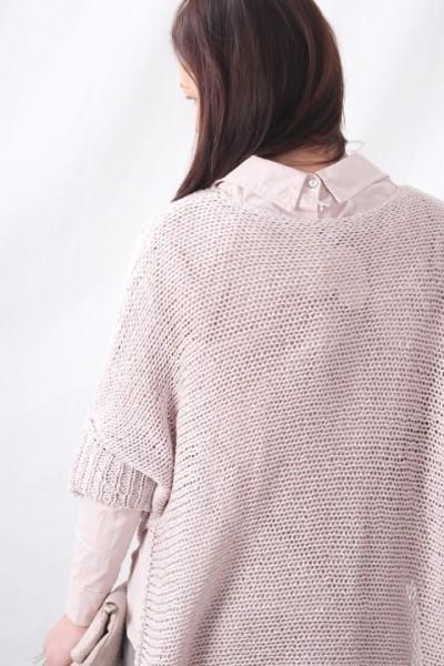 Grobstrick Pullover mit Lurexfaden rosa