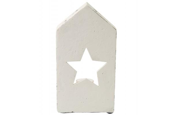 Teelichthaus weiß mit Stern