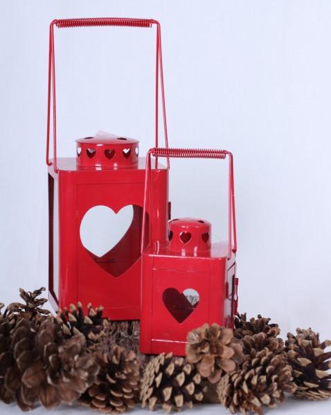 Laterne Herz aus Metall in rot 2 Größen