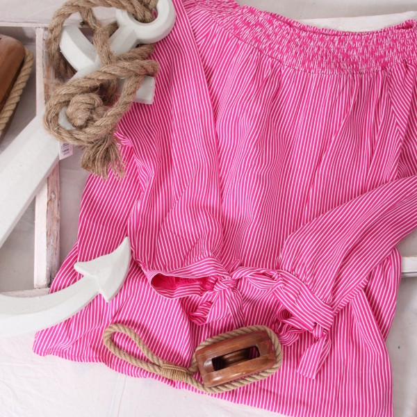Carmenbluse zarte Streifen & Schleifen pink