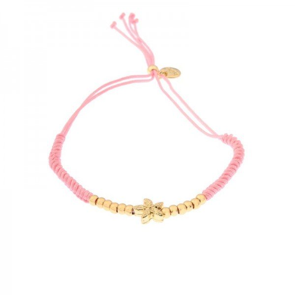 Armband BibaTextil in rosa mit Seestern in gold
