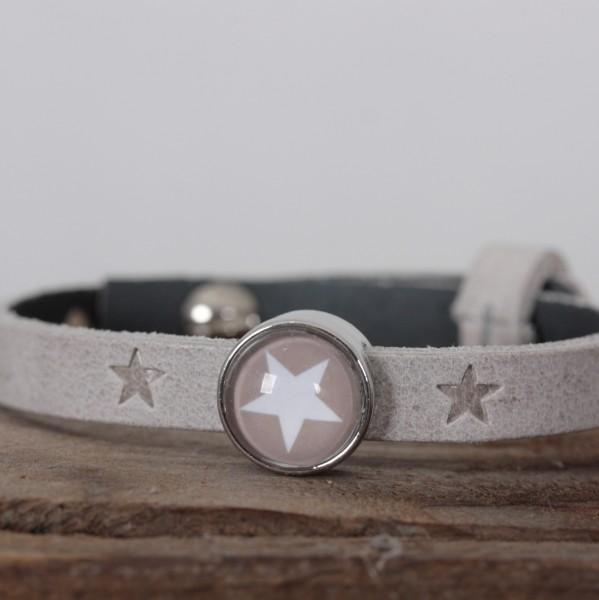 Armband einfach gewickelt beige/grau mit Sternen für Schiebeperlen