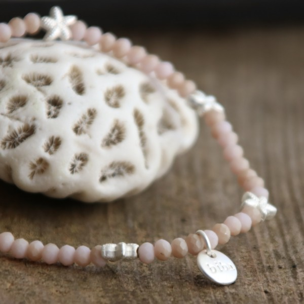 Biba Armband kleine Perle rosa mit Seestern in silber