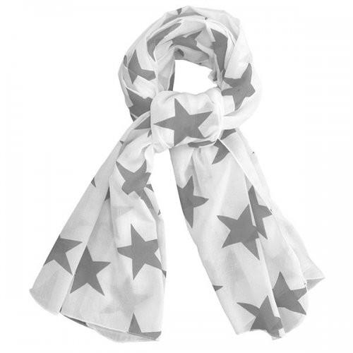 Krasilnikoff Tuch / Schal in weiß mit grauen Sternen