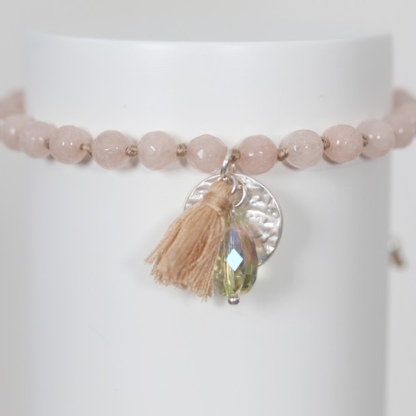 Biba Perlenarmband mit Quaste,Plättchen und Stein in rosé