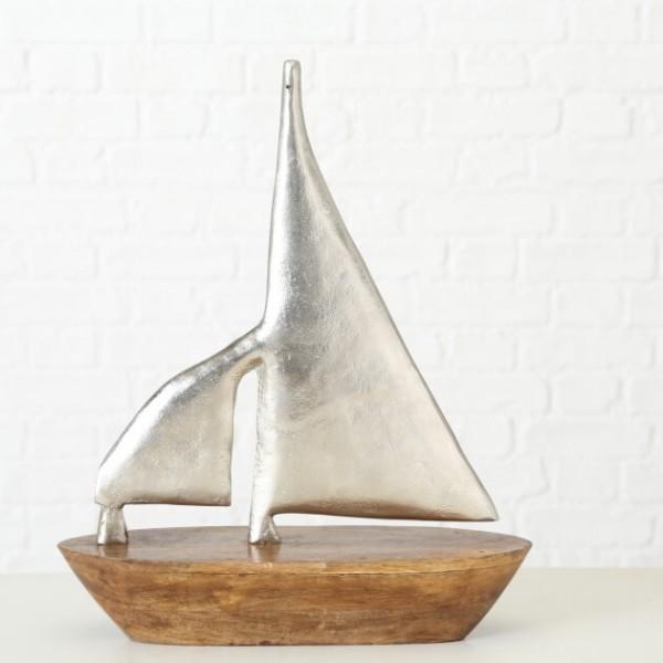 Segelboot Silber Mangoholz und Aluminium 50 cm hoch