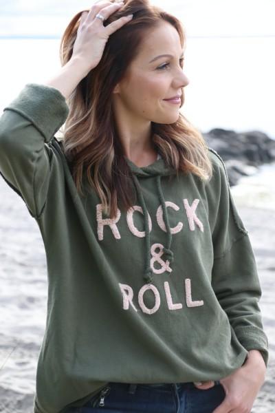 Hoodie Rock & Roll khaki