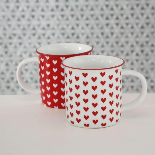 Becher Herz, 400 ml, rot und weiß, 2 Designs