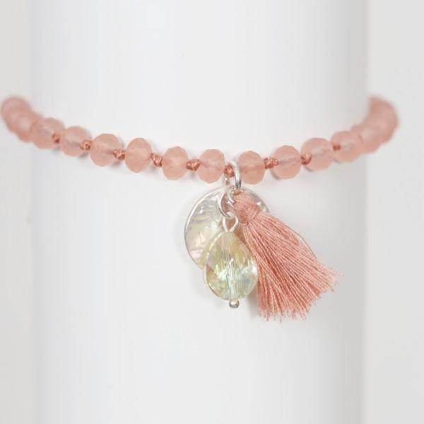Biba Perlenarmband mit Quaste,Plättchen und Stein in koralle / rosé matt