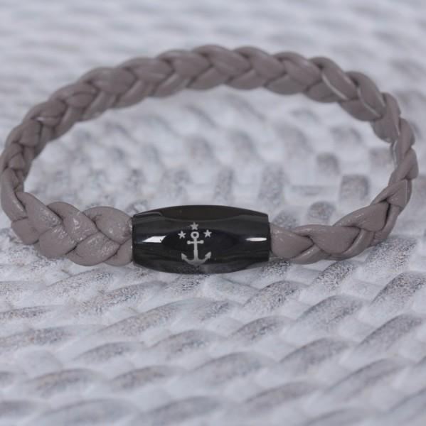"""""""Sailing"""" taupe geflochten aus Nappaleder mit schwarzen Verschluss"""