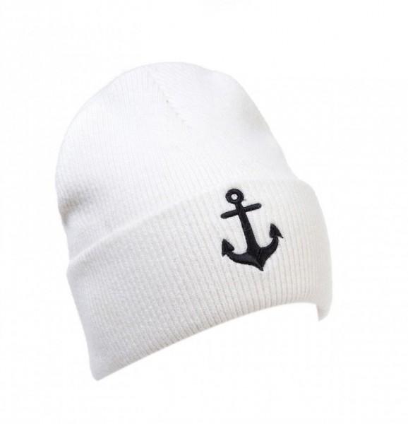 Strick Beanie Mütze mit Umschlag und Anker weiß