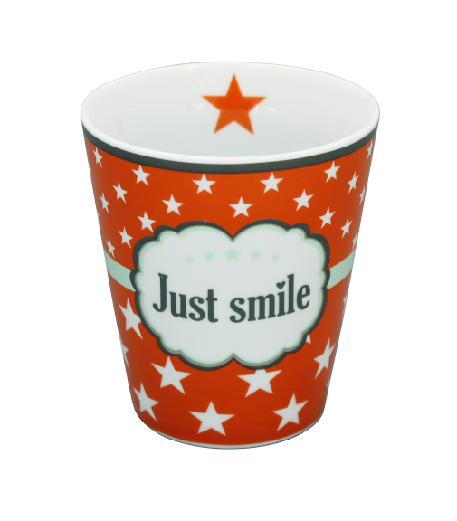 Krasilnikoff Happy Stars Mug Just Smile orange