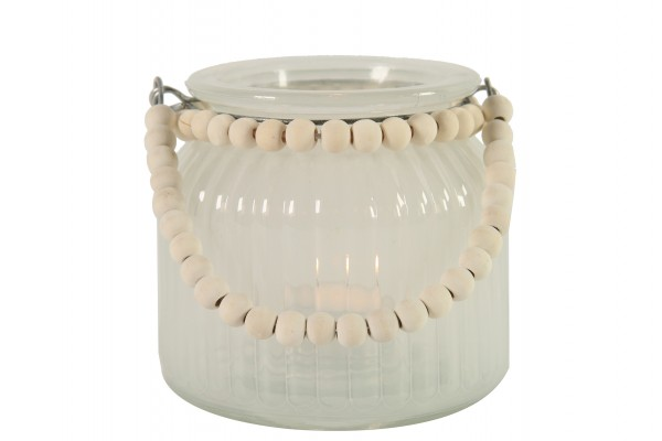 Windlicht / Vase aus Milchglas und Holzperlen 2 Größen
