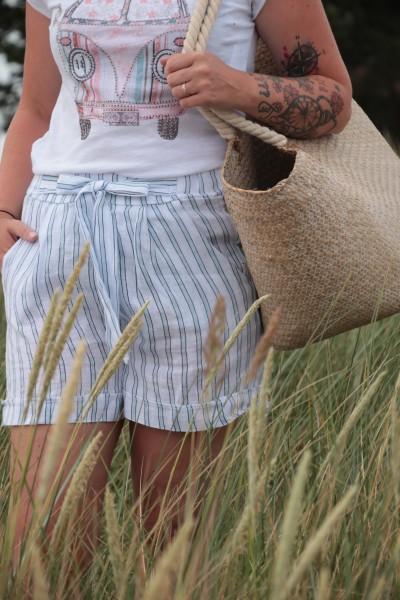 Paperbag Shorts Leinen weiß mit Streifen