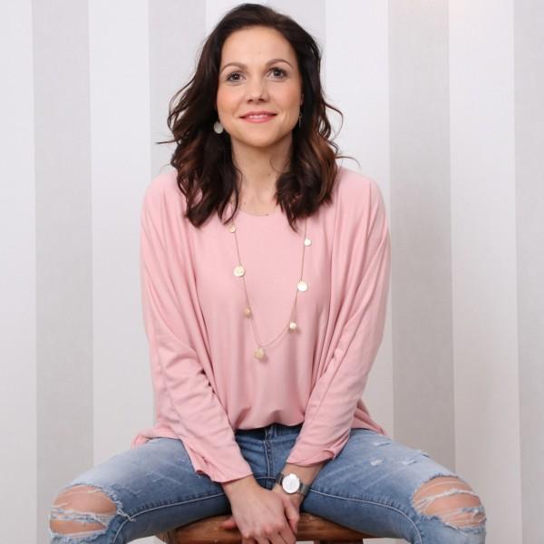 Shirt mit modischen Dreiviertel Ärmeln in rosa