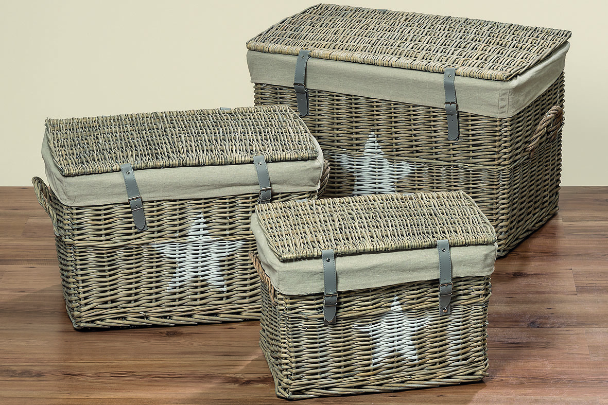 rattan truhe grau mit stern 3 gro en ebay. Black Bedroom Furniture Sets. Home Design Ideas