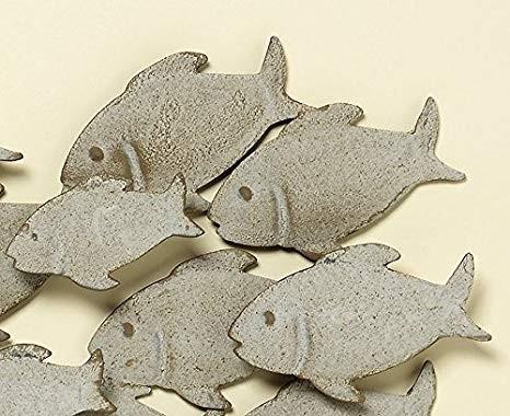 Wand-Objekt Fischschwarm L62cm Eisen grau