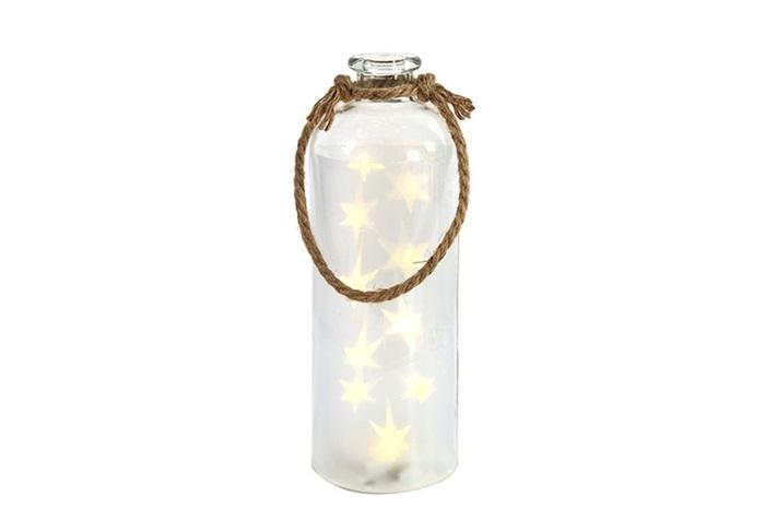 led flasche mit sternen klein laternen leuchter wohnaccessoires seaside64 deko. Black Bedroom Furniture Sets. Home Design Ideas