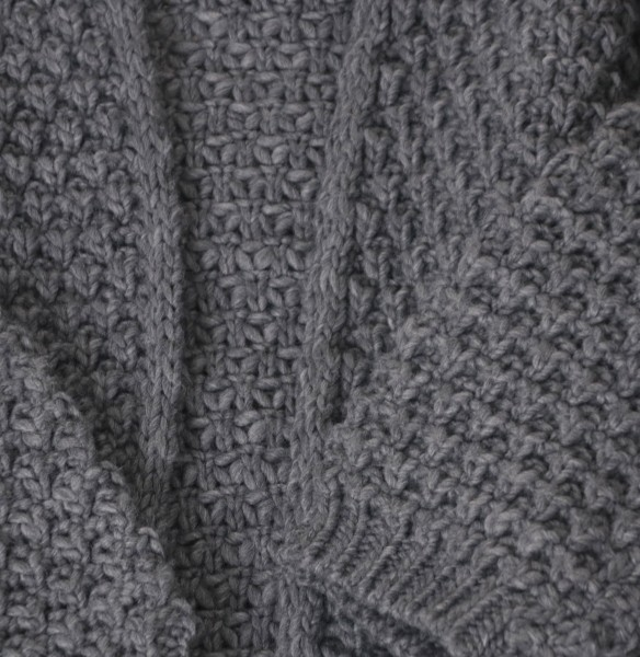 Strickjacke Grobstrick grau
