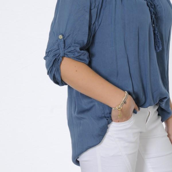 Lange Tunika mit Spitze und Quasten in jeansblau
