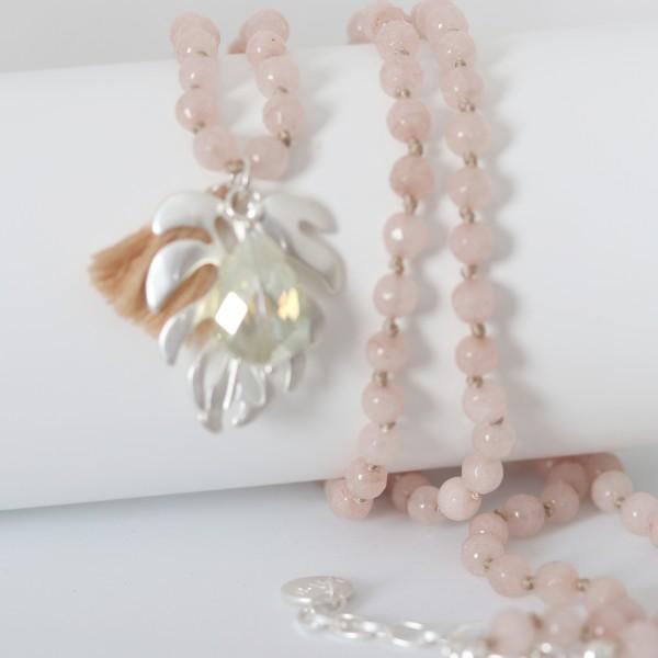 Biba Perlenkette rose´ mit Blatt, Quast und Perle