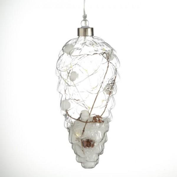 LED-Hänger Zapfen mit Kunstschnee 20 cm
