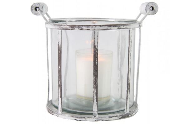 Windlicht aus Metall mit Glaseinsatz shabby-weiß 2 Größen