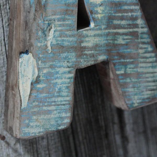 Vintage Holzbuchstabe A-I