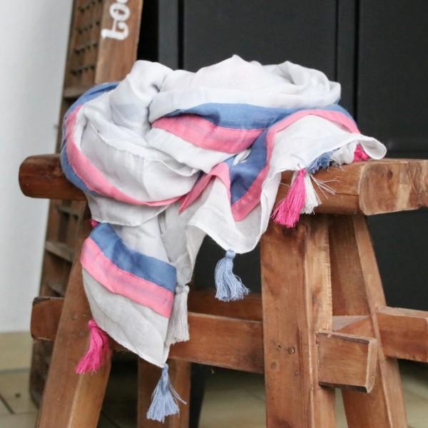 Tuch in hellgrau blau pink mit Quasten