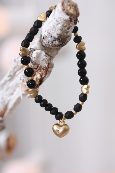 Biba Perlenarmband schwarz gold mit Herzen
