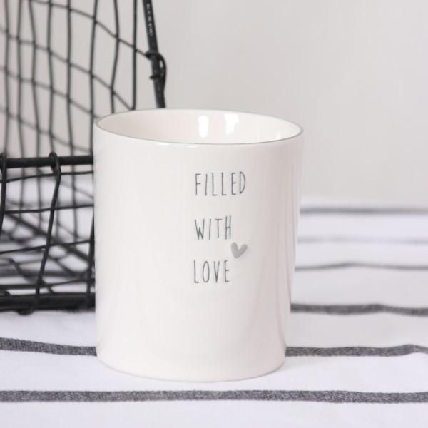 Bastion Collection Porzellanbecher mit Herz und Filled with Love