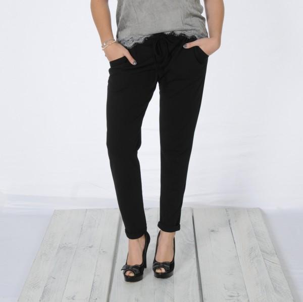 Bundfaltenhose im Pull On Style schwarz M-XXL