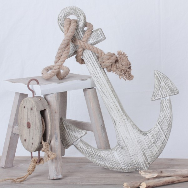 Anker aus Holz in weiß gebürstet mit Tampen