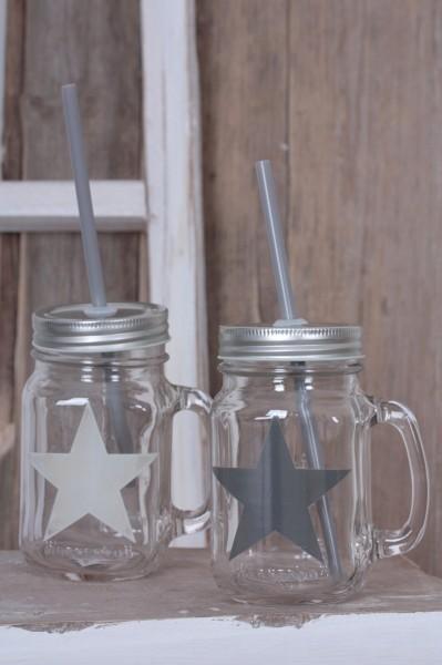 Smoothie Glas mit Stern & Strohhalm 2 Farben
