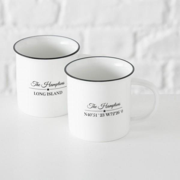 Tasse Hampton 400ml aus Porzellan, 2 Designs