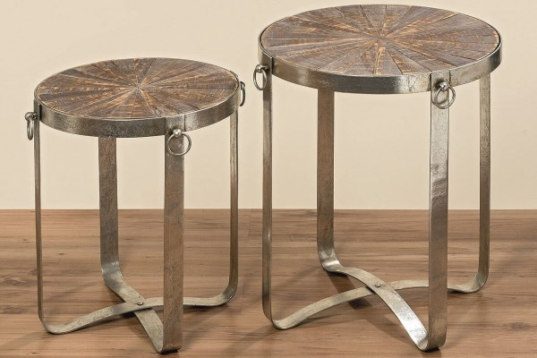 Tisch Industrial aus Eisen mit Holzplatte Höhe 60 cm