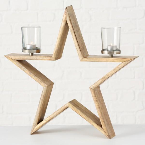 Stern aus Mangholz, 54 cm hoch für 2 Kerzen