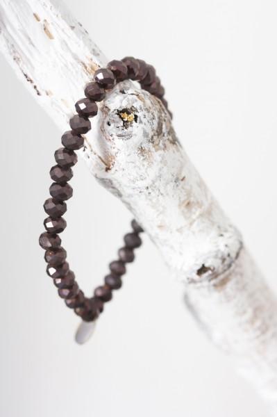 Perlenarmband braun breit