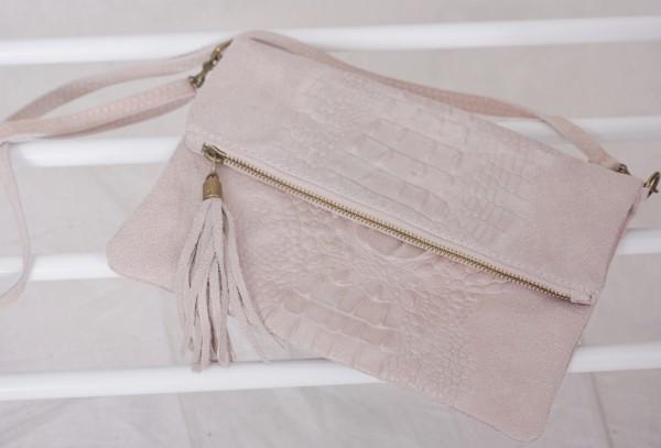 Kleine Ledertasche/ Clutch in rosa/nude mit Reptilmuster