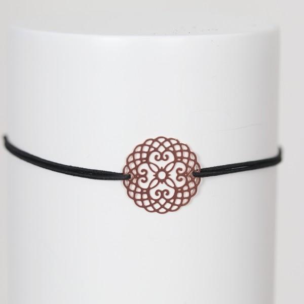 Freundschaftsbändchen/Glücksbändchen Gummi schwarz mit Mandala rosé