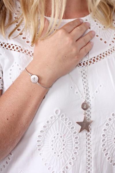 Hultquist Armband Leder rosé runden Element mit Gravur
