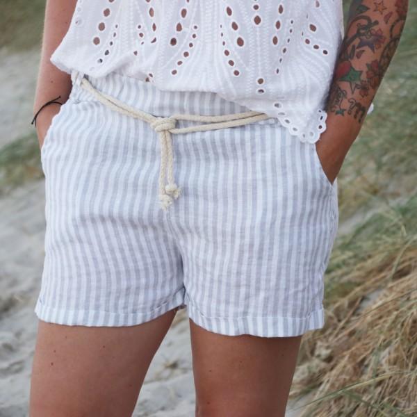 Shorts Leinen hellgrau/beige weiß gestreift