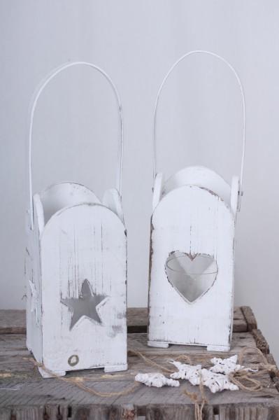 Windlicht Holz mit Stern oder Herz