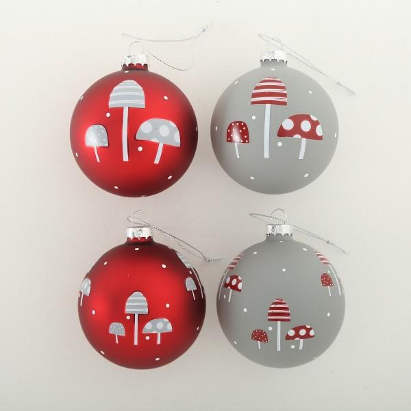 Weihnachtskugel Pilze rot grau 4 Motive